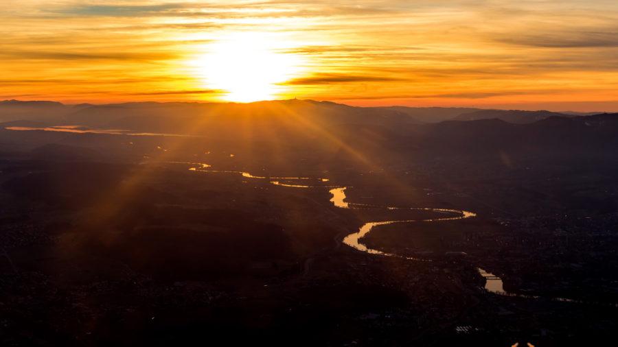 Aare im Sonnenuntergang